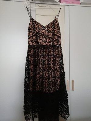 Robe mi-longue noir-rose chair