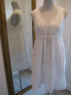 Romantisches Kleid Weiss Häckel Baumwolle Gr 42