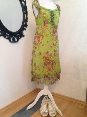Romantisches Sommerkleid aus Seide, Blumendruck, leuchtendes Grün