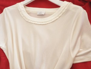 ae elegance Top in seta bianco sporco-crema Seta