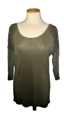 Romeo & Juliet Couture, T-Shirt, 3/4-Arm, oliv, grün, Pailletten, Gr. M, Top Zustand