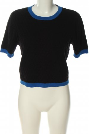 Romeo & Juliet Couture Short Sleeve Sweater black-neon blue cotton