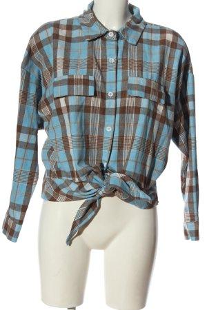 Romwe Camicia da boscaiolo blu-marrone motivo a quadri stile casual