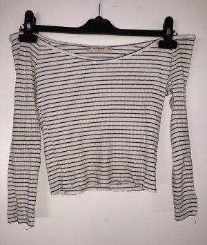 Pull & Bear Koszula o skróconym kroju czarny-biały