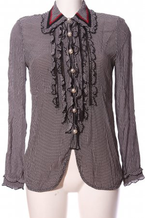 ROQA Hemd-Bluse schwarz-weiß Allover-Druck Casual-Look