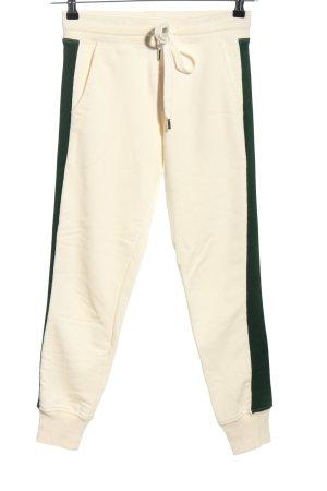 ROQA Pantalon de jogging blanc cassé-noir style décontracté