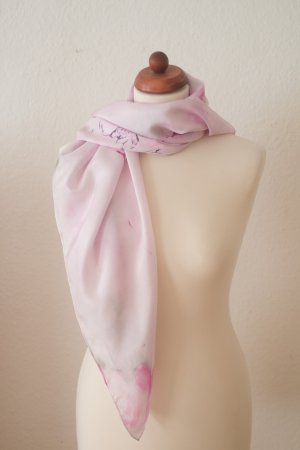 Handarbeit Foulard en soie argenté-rose clair soie