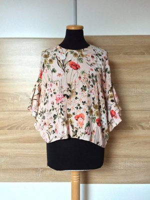 Rosa Blumen Bluse von Zara, Gr. M (NEUw.)