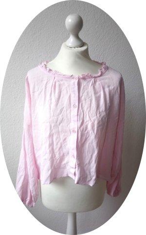 Rosa Bluse von Topshop mit Rüschen am Ausschnitt und Knopfleiste