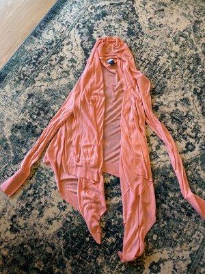 H&M Gilet long tricoté rose-abricot