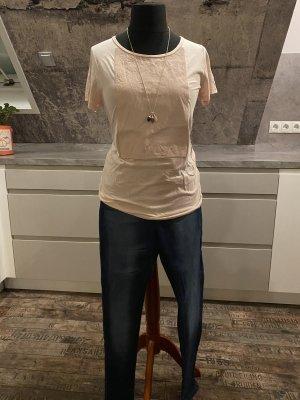 Rosa Farbenes T-Shirt mit Leder von Stefanel Gr. 40/42