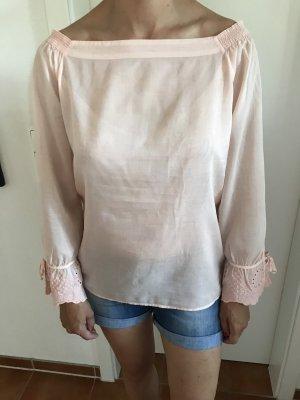 Rosa farbige schulterfreie Bluse