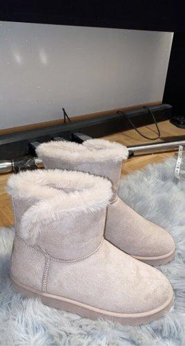 Futrzane buty stary róż-różany