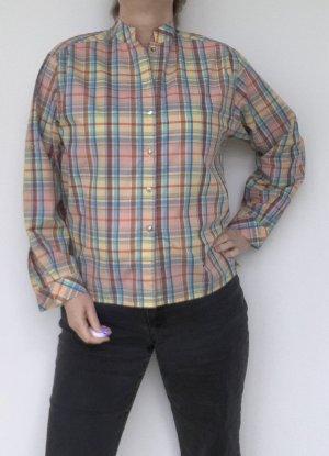 rosa-gelb karierte Bluse mit Stehkragen, Gr. 40