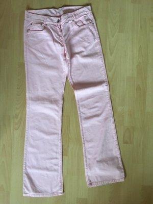 Benetton Pantalon pattes d'éléphant rosé-rose clair coton
