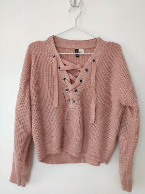 Rosa Lace-Up Kuschel-Pullover mit V-Ausschnitt