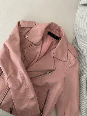Zara Kurtka z imitacji skóry różowy-różany