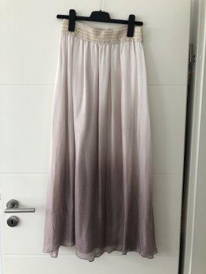 Falda de seda rosa claro-púrpura