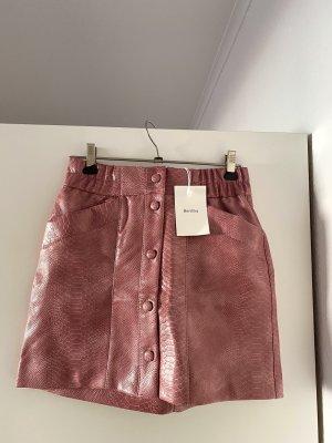 Bershka Spódnica z imitacji skóry stary róż-różowy