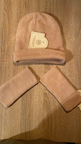 Rosa Mütze und Handwärmer 100% alpacawolle in Peru hergestellt