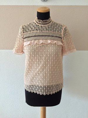 Rosa nude Lochmuster Spitze Shirt Bluse von Zara, Gr. XS (NEU)