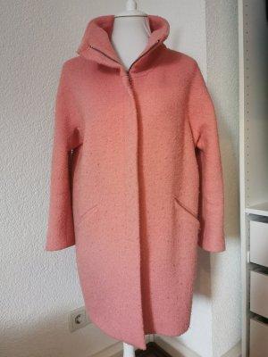 Zara Woman Abrigo ancho rosa