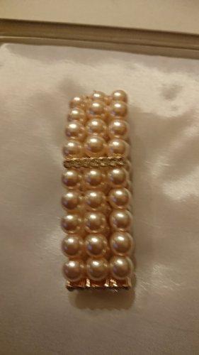 Rosa Perlen Armband elastisch mit Strassteine