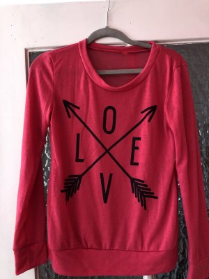 Rosa Pullover dünn love logo