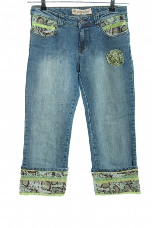 Rosa & Rose 7/8 Jeans blau-grün Animalmuster extravaganter Stil