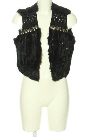 Rosa & Rose Fur vest black casual look