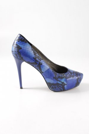 Rosa Rot Platform Pumps blue-black animal pattern elegant