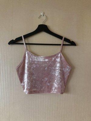 Rosa Samt Cropped Top/Shirt