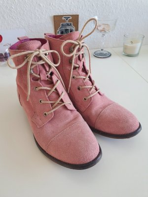 Akira Lace-up Booties pink-pink suede