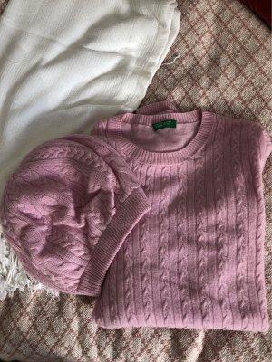 Benetton Warkoczowy sweter jasny różowy-różowy Angora
