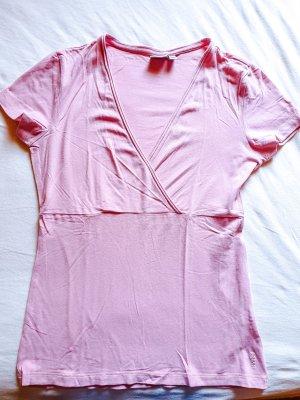 rosa Shirt in Wickeloptik und mit V-Ausschnitt