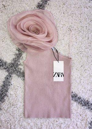 Zara Haut avec une épaule dénudée vieux rose