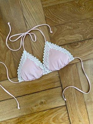 Rosa Triangel Bikinioberteil mit Spitze S