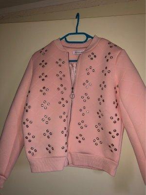 Rosa Übergangsjacke leicht gesteppt mit Lochösen
