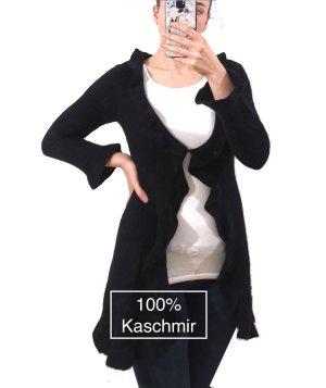 Rosa von Schmaus 100% Kaschmir kuschelweich Cardigan Strickjacke schwarz Rüschen
