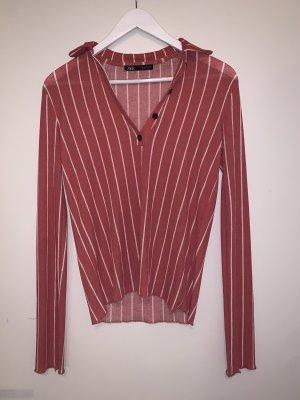 Rosa weiß gestreifte Bluse von Zara