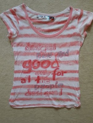 Rosa weiß gestreiftes T-Shirt von Desigual