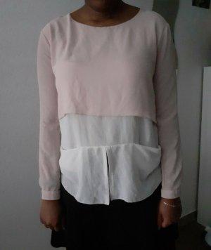 Rosa-Weiße Chiffon Bluse