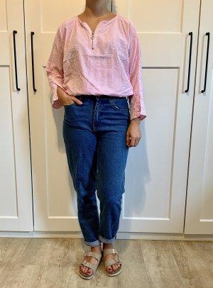 Rosa-weiße Zara Bluse mit Reißverschluss