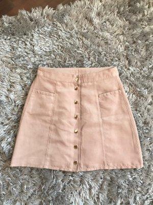 H&M Falda de cuero de imitación rosa Poliéster