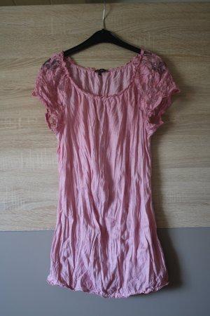 rosafarbenes Spitzen-Shirt in Crash-Optik von StreetOne