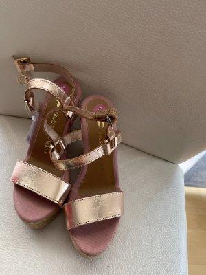 Rosagold Sandalen Sandaletten von Trussardi Gr 36 Keilabsatz Wedge plataue