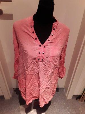 rosane Bluse - langarm - luftig - mit Nieten - Gr. S/M