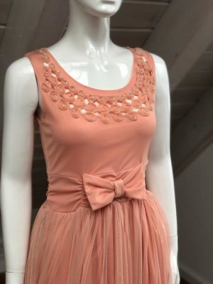 Chiffon jurk abrikoos-rosé