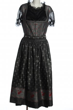 Rose Dirndl aus Bayern Dirndl nero-grigio chiaro motivo floreale elegante