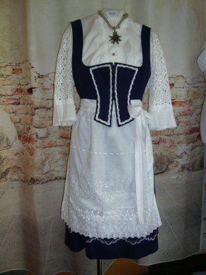 Rose Dirndl dunkelblau weiß GR 48 mit Plauener Spitzen-Bluse True Vintage Dirndl, einf. Taille 47cm Topzustand mit weißer Schürze